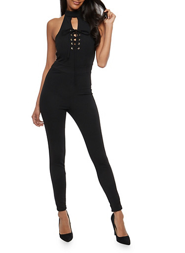 Choker Neck Lace Up Jumpsuit,BLACK,large
