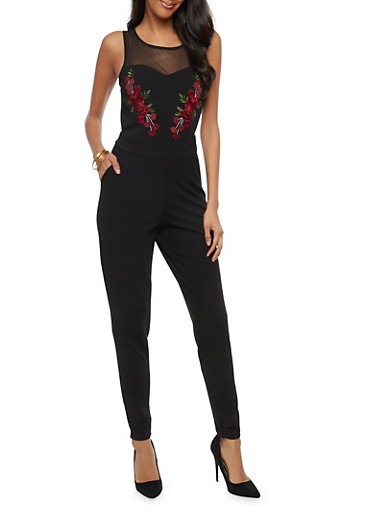 Floral Embroidered Jumpsuit with Mesh Detail,BLACK,large