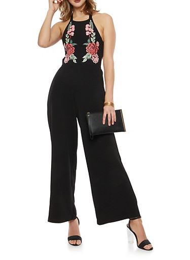 Crepe Knit Open Tie Back Jumpsuit with Floral Detail,BLACK,large