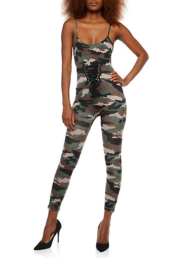 Lace Up Front Camo Catsuit,CAMOUFLAGE,large