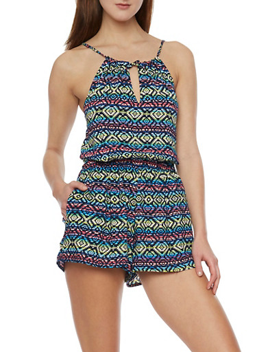 Multi Color Halter Romper with Front Tie Keyhole,PINK,large