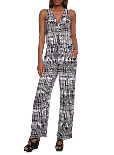 Printed Jumpsuit with Zipper Front,BLACK,large