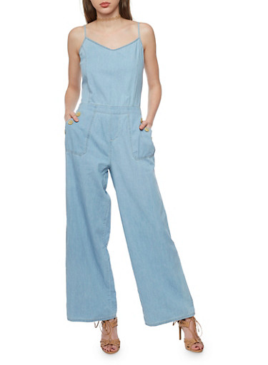 Sleeveless Wide Leg Zip Back Denim Jumpsuit,MEDIUM WASH,large