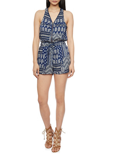 Zip Front Printed Sleeveless Romper with Drawstring,BLUE,large