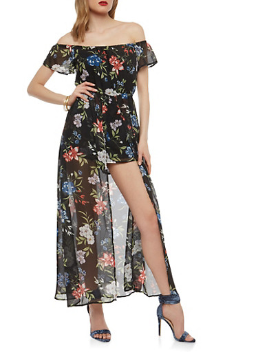 Floral Chiffon Romper with Maxi Skirt Overlay,BLACK,large