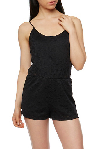 Crocheted Spaghetti Strap Romper,BLACK,large