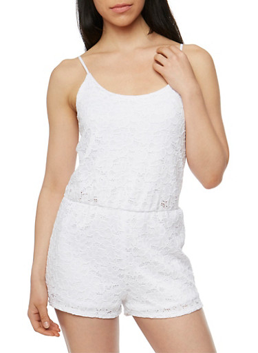 Crocheted Spaghetti Strap Romper,WHITE,large