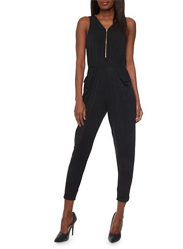 Draped Solid Front Zip Jumpsuit,BLACK,large