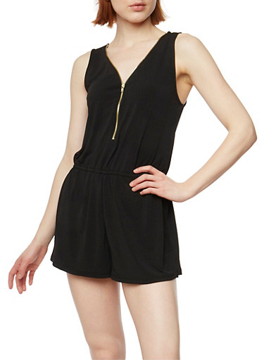 Zip Front Sleeveless Romper with Cinched Waist,BLACK,large