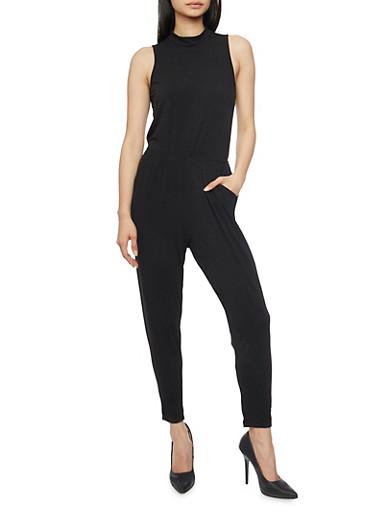 Sleeveless Mock Neck Jumpsuit with Keyhole Back,BLACK,large