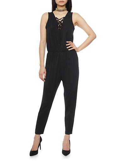 Sleeveless Lace Up V Neck Jumpsuit,BLACK,large