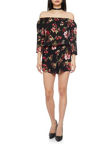 3/4 Sleeve Off The Shoulder Floral Romper,BLACK,large