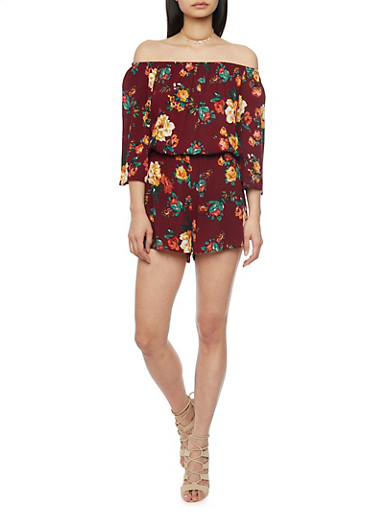 3/4 Sleeve Off The Shoulder Floral Romper,BURGUNDY,large