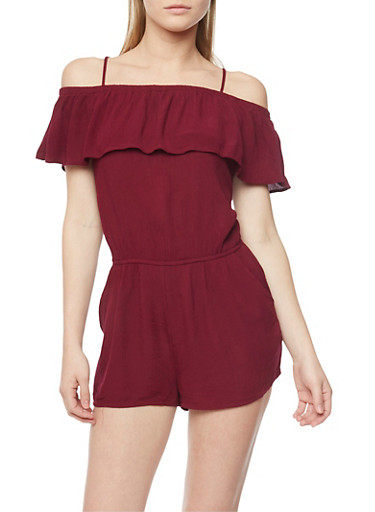 Gauze Knit Cold Shoulder Spaghetti Strap Romper,BURGUNDY,large