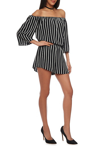 Striped Off the Shoulder Crepe Knit Romper,BLACK/WHITE,large