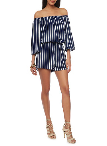 Striped Off the Shoulder Crepe Knit Romper,ECLIPSE/WHITE,large