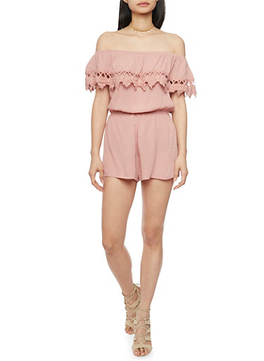 Off The Shoulder Romper with Crochet Overlay,MAUVE,large