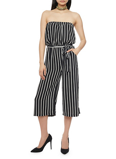Strapless Striped Gaucho Jumpsuit with Sash,BLACK,large