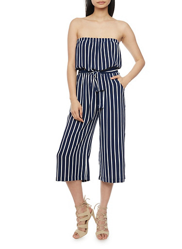 Strapless Striped Gaucho Jumpsuit with Sash,ECLIPSE,large