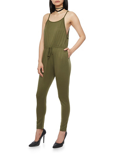 Sleeveless Jumpsuit with Cinched Waist and Faux Adjusting Drawstring,OLIVE,large