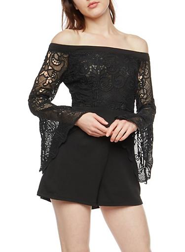 Off the Shoulder Crepe Knit Crochet Romper,BLACK,large