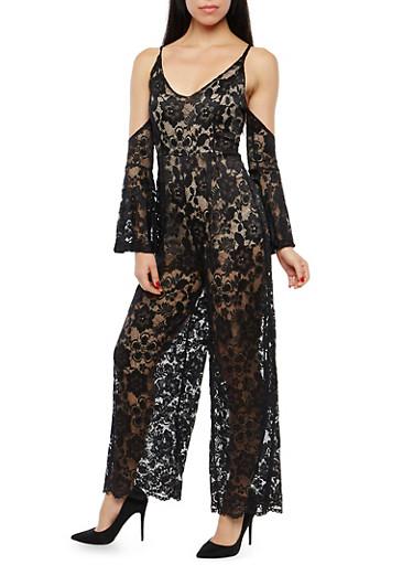 V Neck Cold Shoulder Lace Jumpsuit,BLACK,large