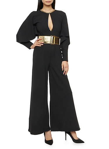 Slit Sleeve Wide Leg Jumpsuit with Metallic Gold Belt,BLACK,large