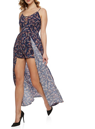 Caged Neck Paisley Print Romper with Maxi Skirt Overlay,NAVY,large