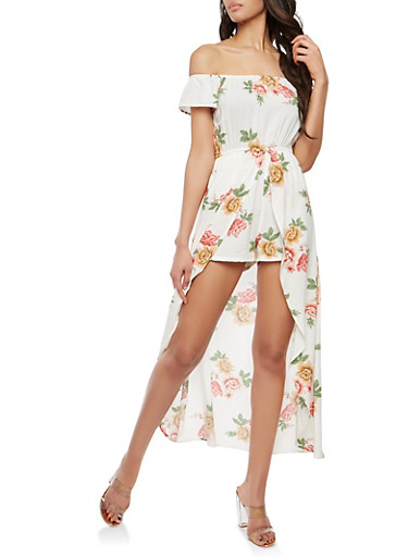Floral Off the Shoulder Romper with Maxi Skirt Overlay,WHITE GROUND,large