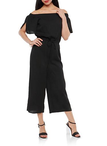Crepe Knit Off the Shoulder Jumpsuit,BLACK,large