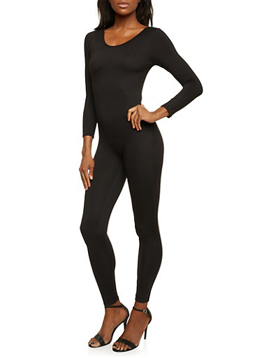 Brushed Knit Catsuit,BLACK,large