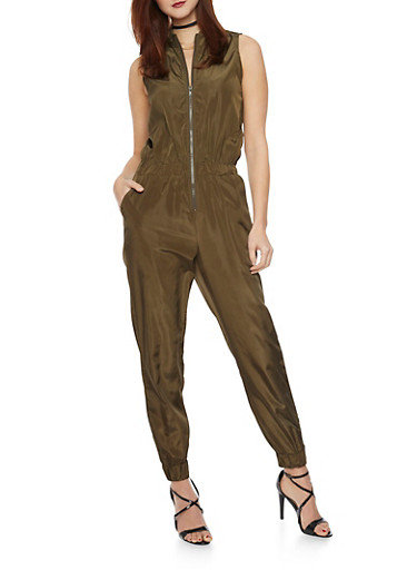 Sleeveless Silk Jumpsuit with Zipper,OLIVE,large
