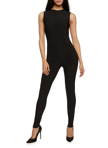 Mock Neck Catsuit with Back Keyhole,BLACK,large