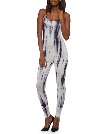 Sleeveless Tie Dye Catsuit,NAVY,large