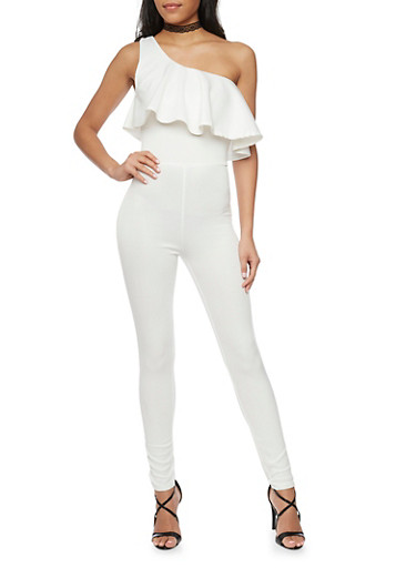 One Shoulder Scuba Knit Jumpsuit with Ruffle Overlay,WHITE,large