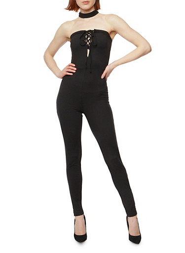 Strapless Lace Up Catsuit with Choker,BLACK,large
