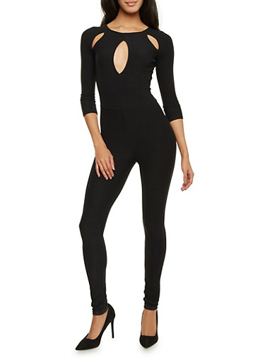 Solid Catsuit with Cutouts,BLACK,large