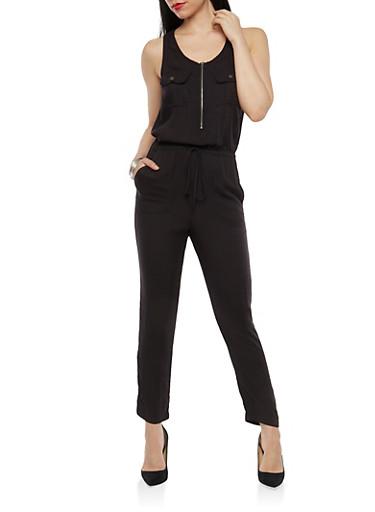 Cinched Waist Zip Jumpsuit,BLACK,large