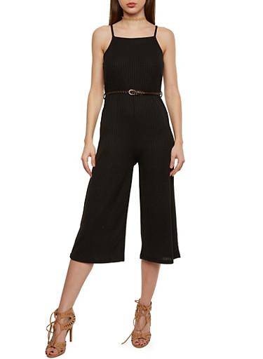Sleeveless Rib Knit Wide Leg Capri Jumpsuit with Braided Belt,BLACK,large