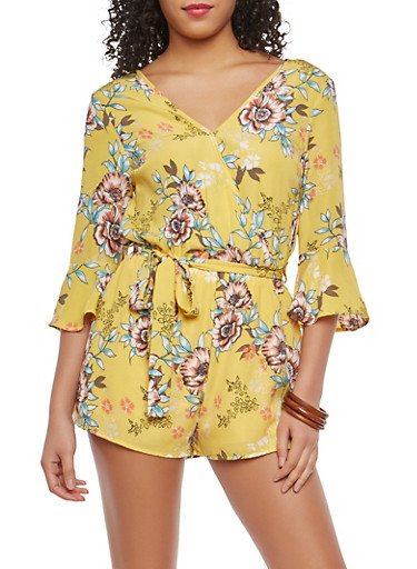Yellow Floral Faux Wrap Romper,YELLOW,large