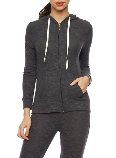 Soft Marled Knit Hoodie with Zip Front,BLACK,large
