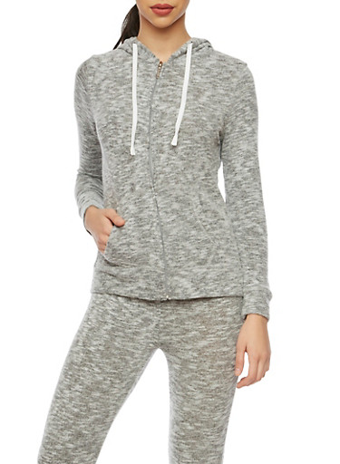 Soft Marled Knit Hoodie with Zip Front,HEATHER/GREY,large