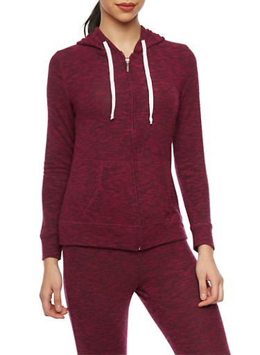 Soft Marled Knit Hoodie with Zip Front,BURGUNDY,large