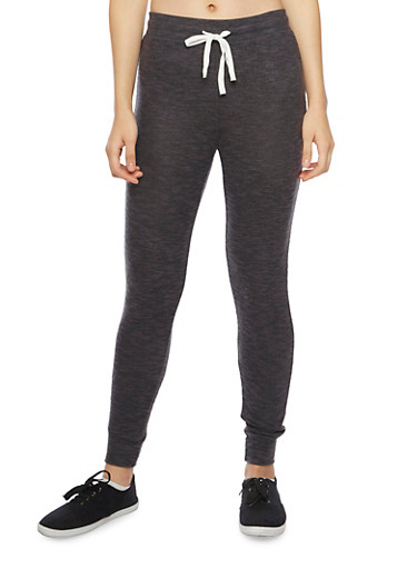 Soft Marled Knit Joggers,BLACK,large