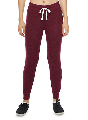 Soft Marled Knit Joggers,BURGUNDY,large