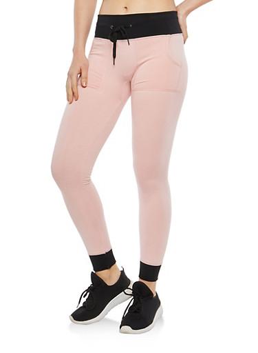 Two Tone Fleece Lined Sweatpants,ROSE,large