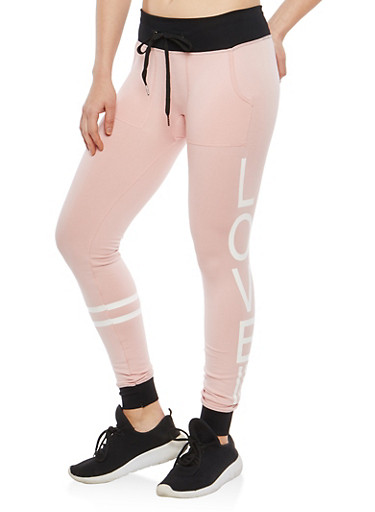 Love Graphic Fleece Lined Sweatpants,PINK,large