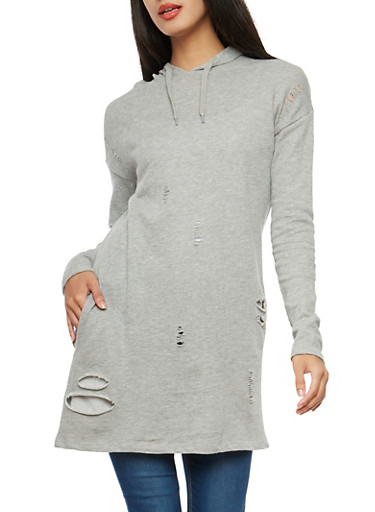 Distressed Hooded Tunic Sweatshirt,GRAY,large