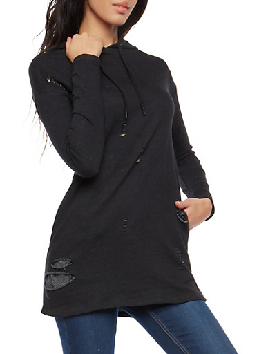 Slashed Tunic Sweatshirt,BLACK,large