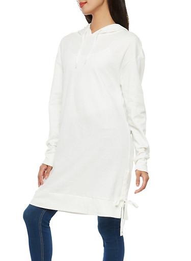 Side Lace Up Hooded Tunic Sweatshirt,CREAM,large